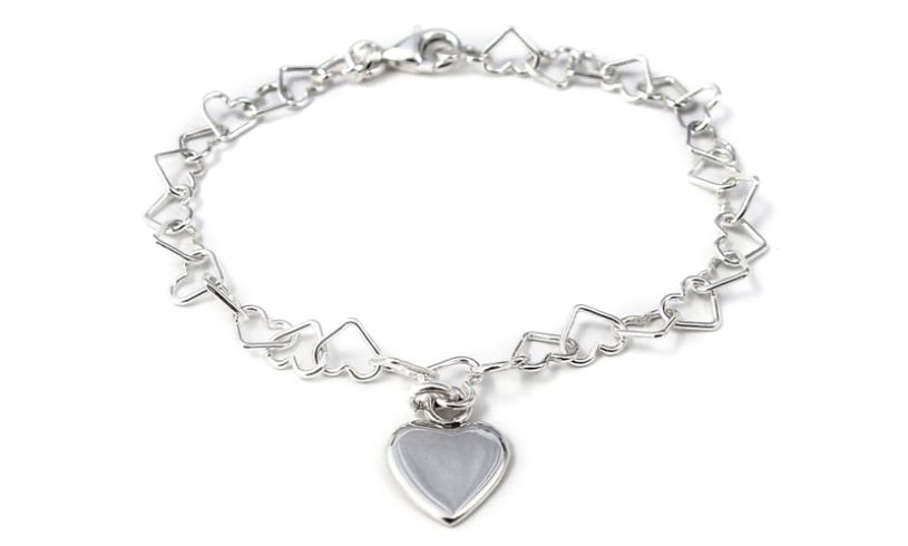 Sterling Silver Linked Hearts Bracelet