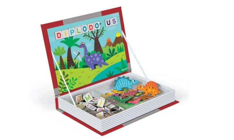 Dinosaurs Magnetibook with Letters Close Up