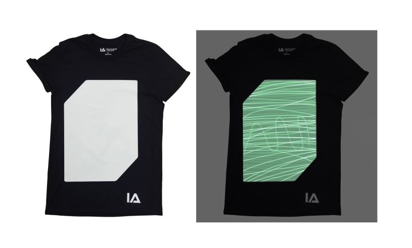 Black Interactive Glow T-Shirt in dark