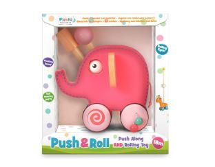 Fiesta Crafts Pink Elephant Push & Roll