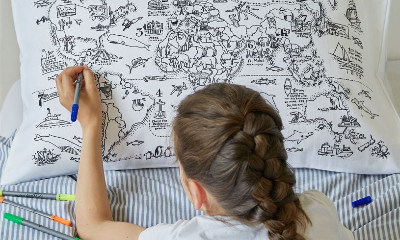 World Map Pillowcase lifestyle
