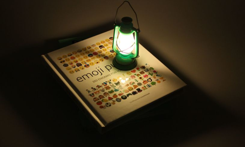 The Base Camp Reading Lamp lit up