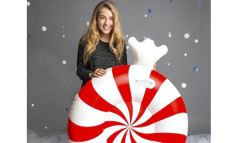 Peppermint Twist Big Snow Tube girl