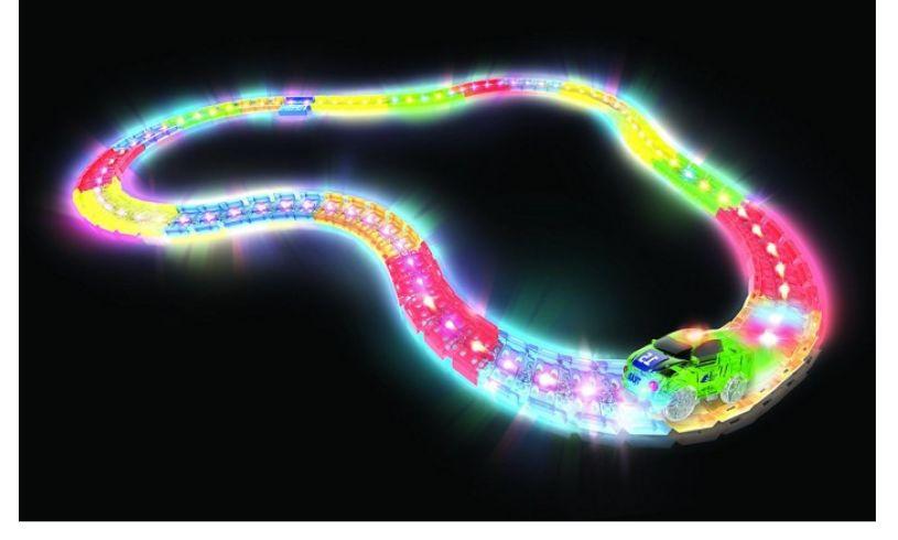 glowing twisting tracks and race car
