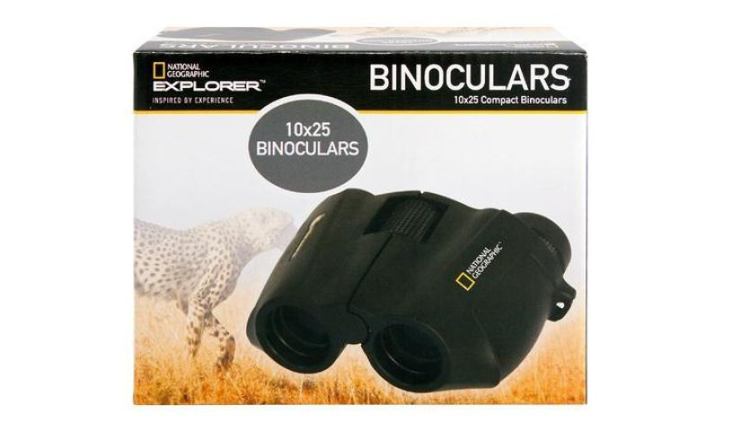 box with National Geographic binoculars