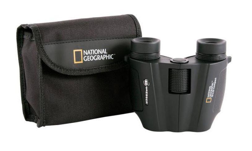 National Geographic bag and binoculars