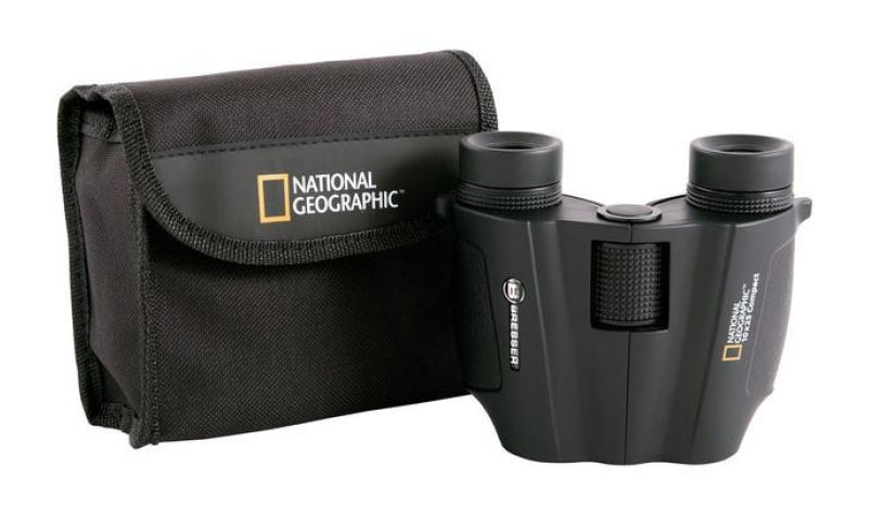 National Geographic bag and binoculars