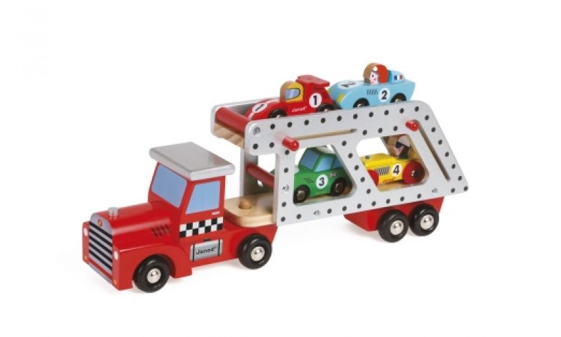 transporter truck with cars loaded
