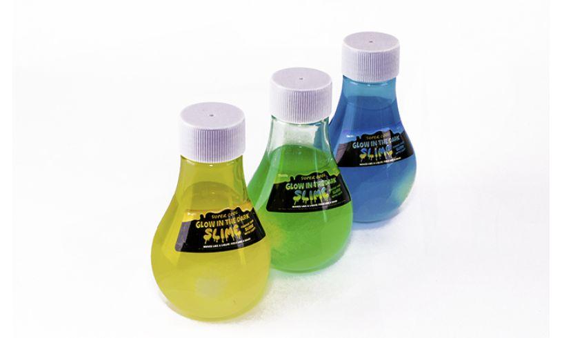 3 colors of glow in the dark slime