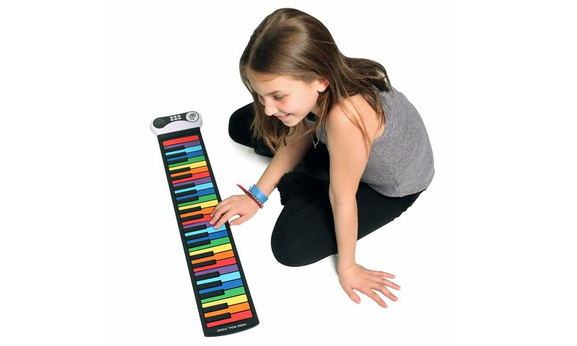 Flexible Rainbow Keys Piano and Girl