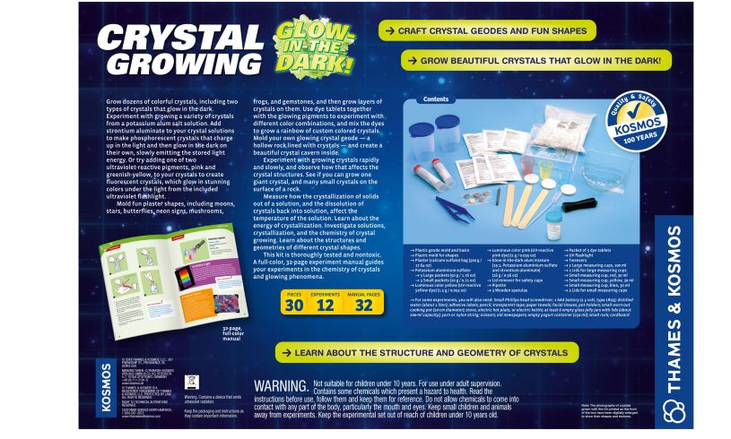 Crystal Growing Kit - Glow in the Dark Back