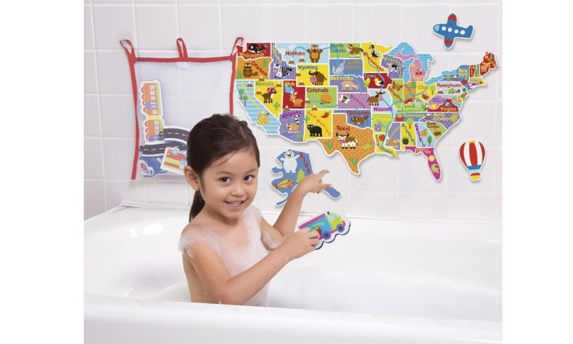USA Map in the Tub Kid in tub