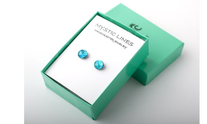 Aqua green color changing glass earrings