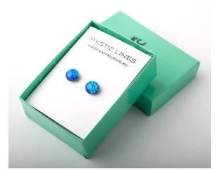 Blue dichroic glass earrings