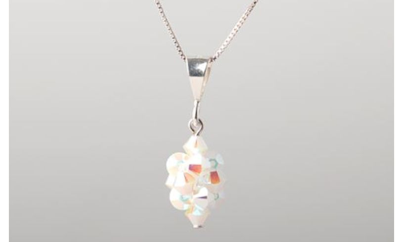close up of crystal necklace