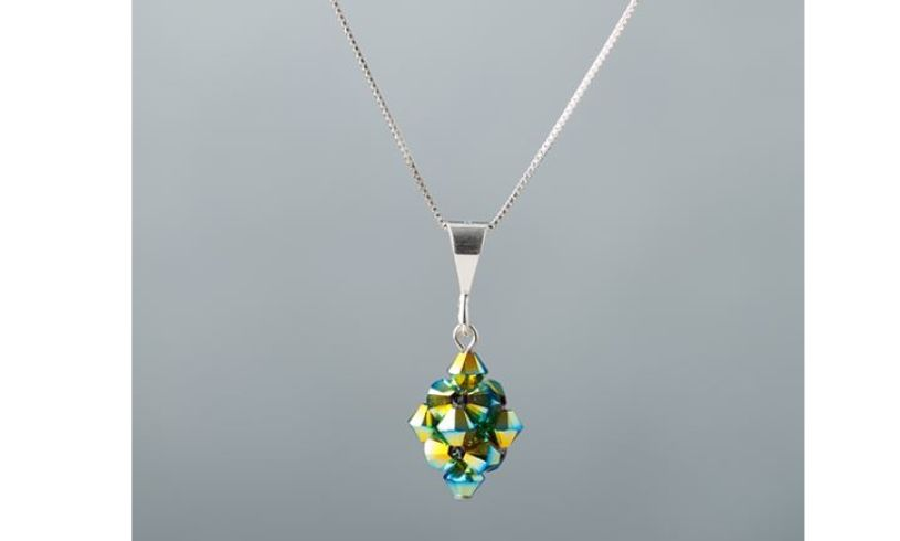 Aqua green woven glass necklace