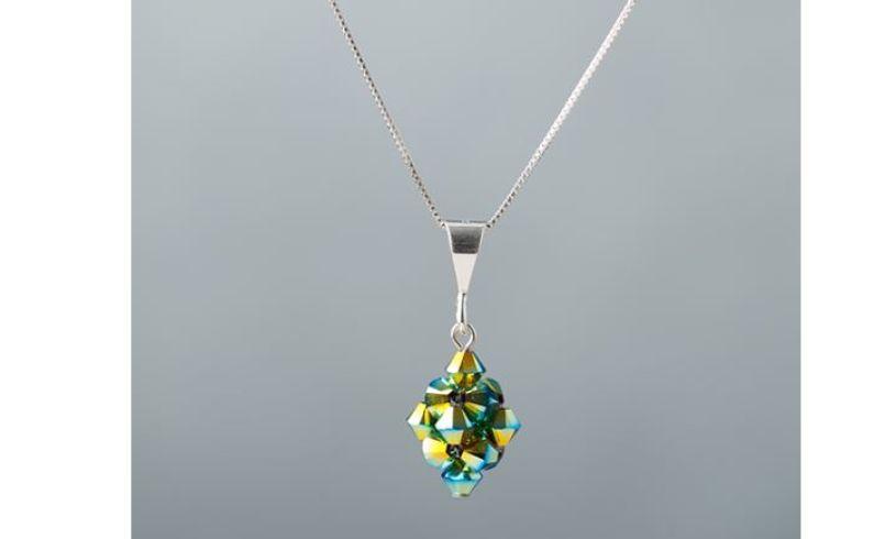 Aqua green woven glass necklace