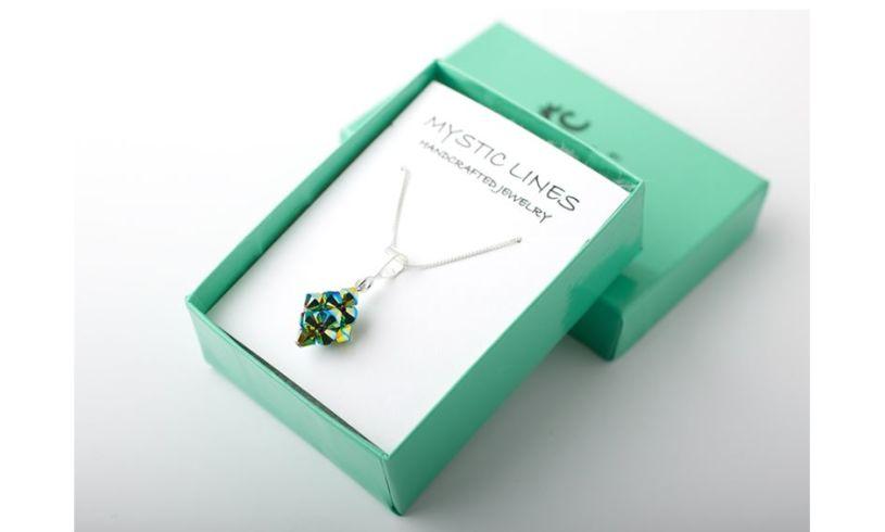 box with aqua green necklace