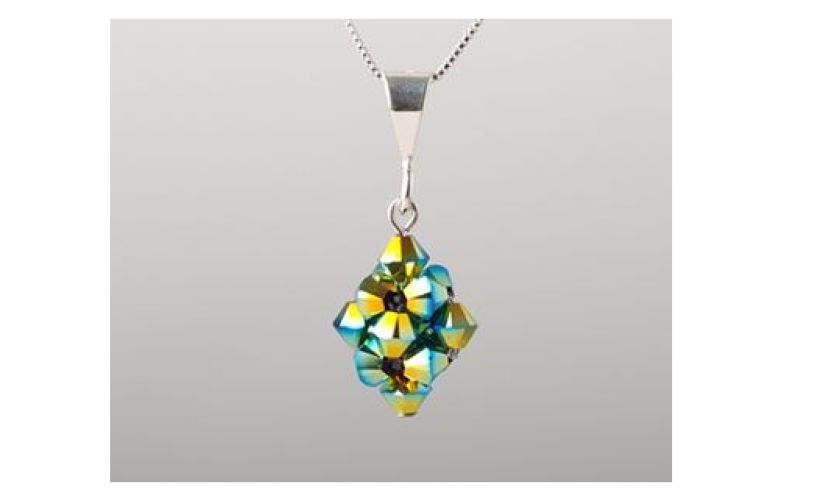 close up of aqua green glass necklace