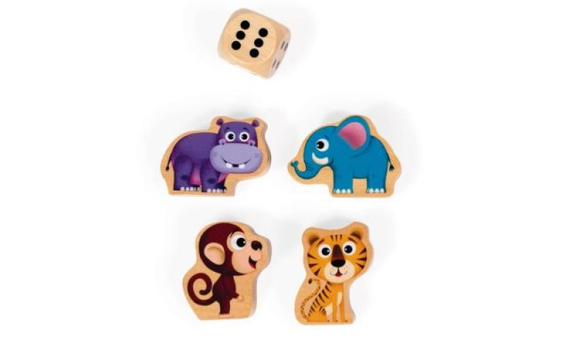 Jungle puzzle dice and pieces