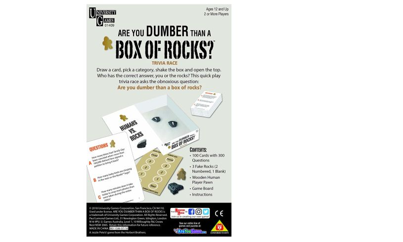 directions to play Are you dumber than a box of rocks?