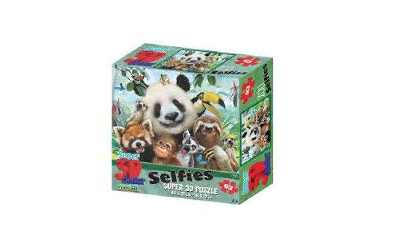 Smile with 3D effect zoo selfie puzzle