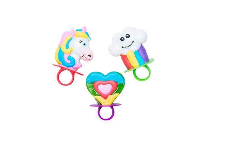 Rainbow unicorn lollipop rings