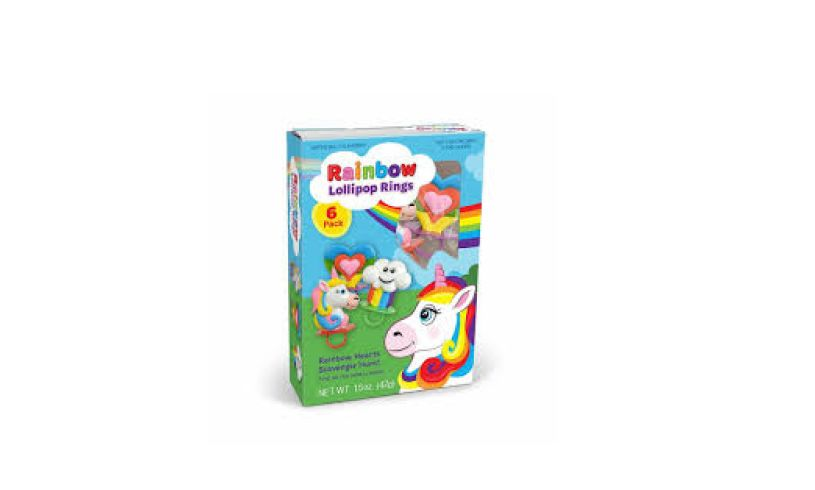 box of rainbow lollipop rings