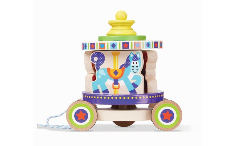 Carousel Pull Along Wooden Toy Close Up