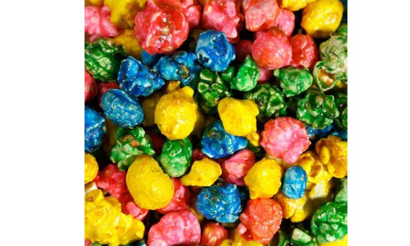 closeup of colorful funfetti popcorn