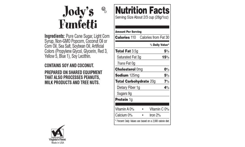 ingredients and nutrition facts funfetti popcorn