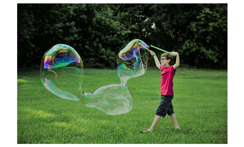 child making the giant bubble