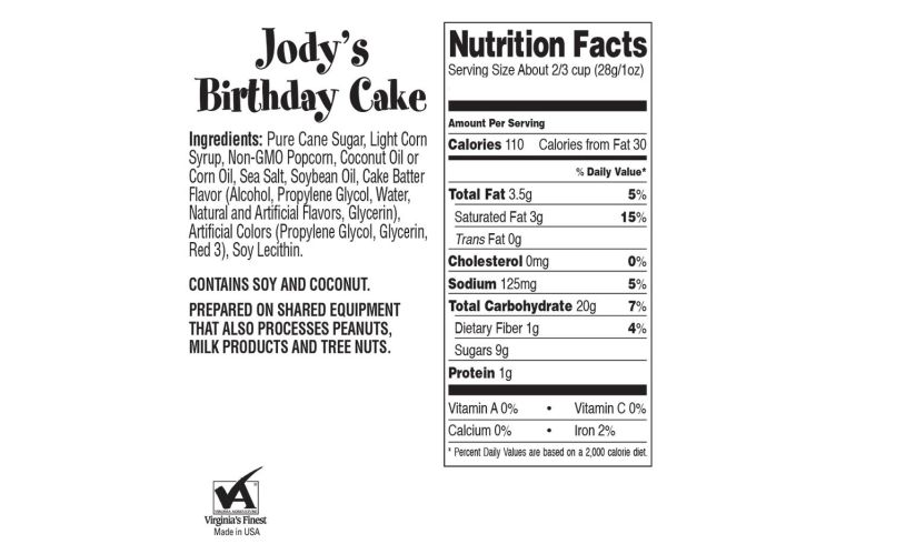 ingredients and nutrition facts Jodys birthday popcorn