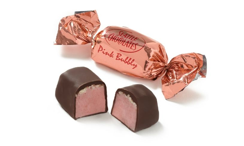pink wrapped and unwrapped truffle