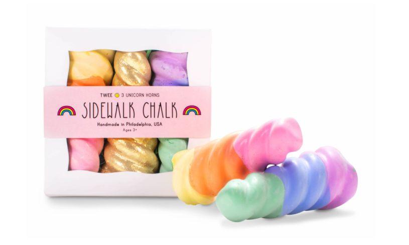 rainbow unicorn horns sidewalk chalk