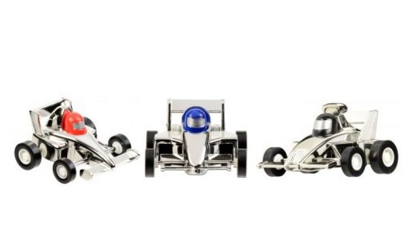 Silver Aero Pull back race car set of 3