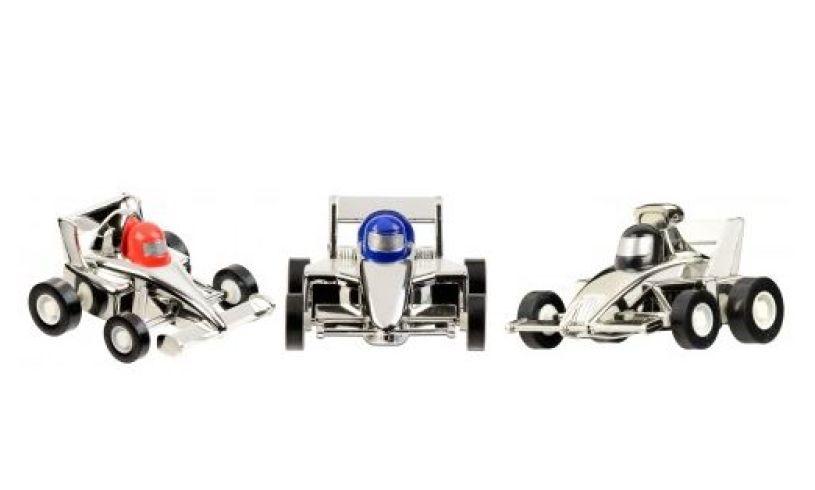 Silver Aero Pull back race car set of 3