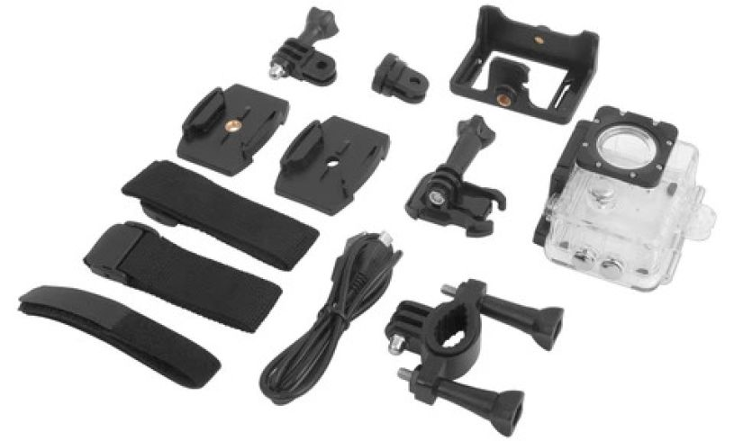 HD action camera with parts