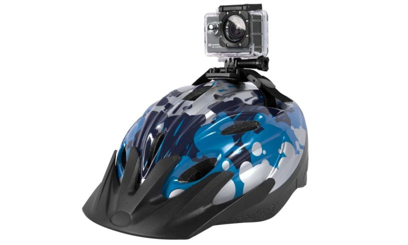 HD action camera on helmet