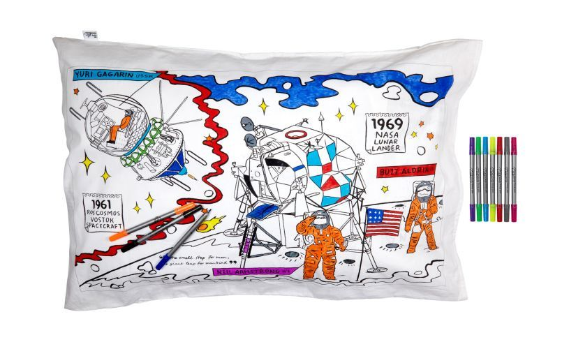 space explorer pillowcase drawn on