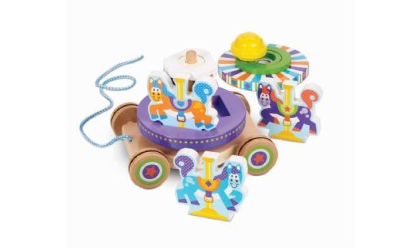 Carousel Pull Along Wooden Toy Lifestyle