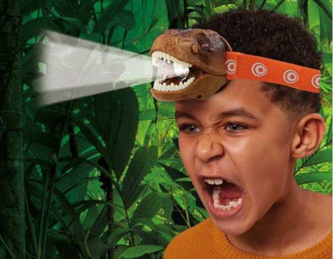 T rex head torch Brainstorm worn by boy