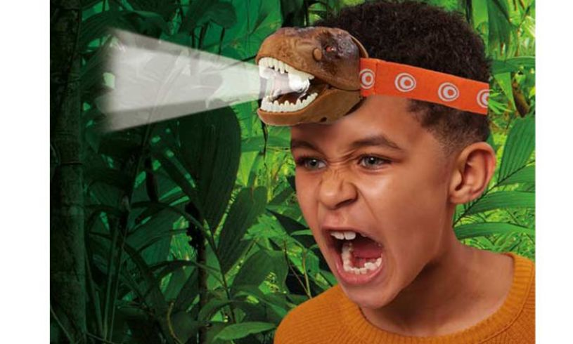 T rex head torch Brainstorm worn by boy