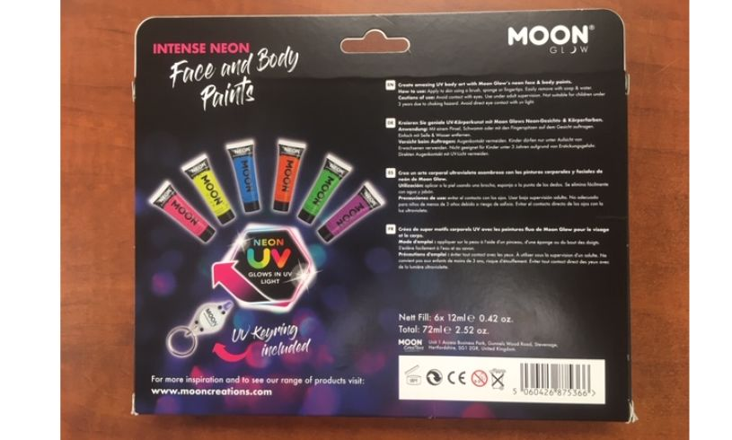 Glow In The Dark - Face & Body Paint Kit Contents