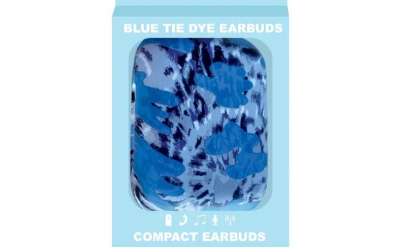 Blue tie dye earbuds box