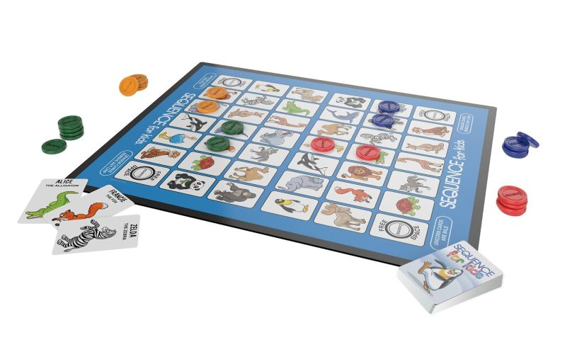 Sequence for Kids includes game board, cards, playing pieces