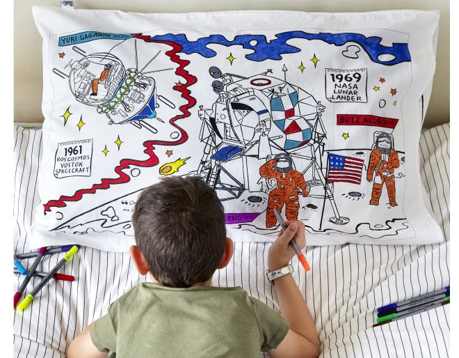 space explorer pillowcase with boy