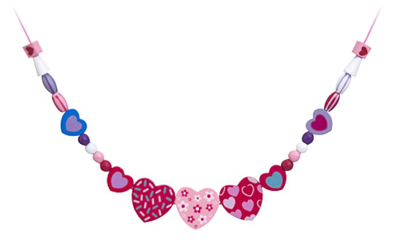 Sweet Hearts Wooden Bead Set Necklace