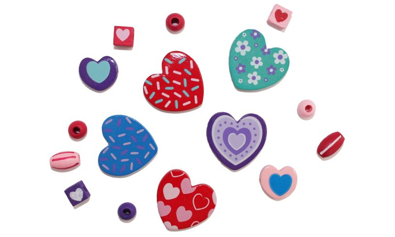 Sweet Hearts Wooden Beads